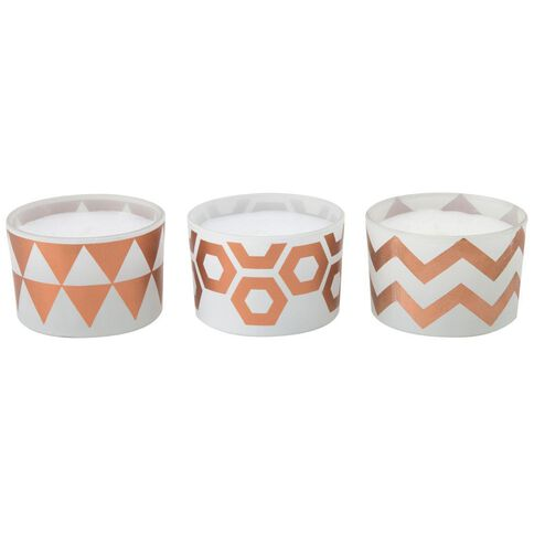 Uniti Rose Gold Candles Pack Of 3 Multi-Coloured