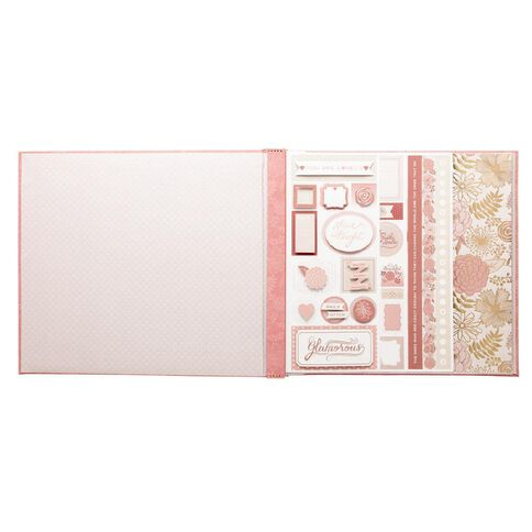 Craft Smith Pre-Loaded Album Blush Glam Post Bound 12in x 12in Pink