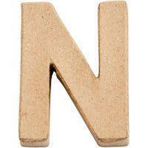 Paper Mache Alphabet Small Symbol N 10cm Brown