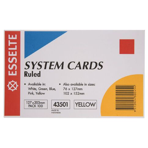 Esselte System Cards Lined 127 x 203mm 100 Pack Yellow