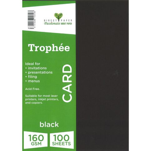 Trophee Card 160gsm 100 Pack Black A4