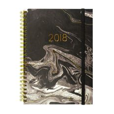 Diary 2018 Wtv Spiral Marble Black A5