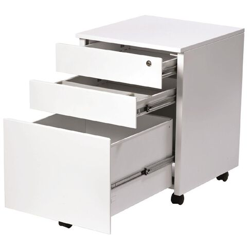 Firstline Metal 3 Drawer Steel Mobile Satin White
