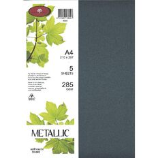 Metallic Board 285gsm 5 Pack Anthracite A4