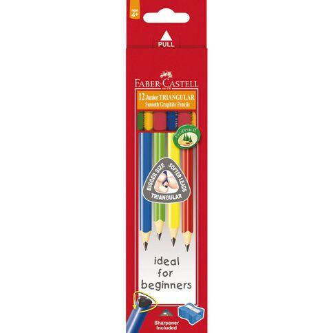 Faber-Castell Junior Triangular Pencils 2B Box of 12 Multi-Coloured