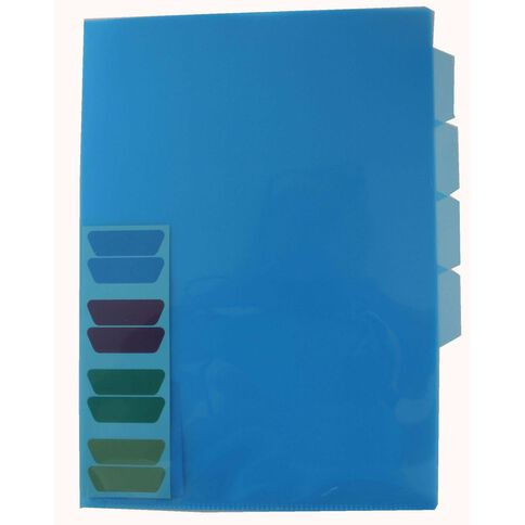 GBP Stationery File L-Shaped Pockets 4 Tab Indexed Single Blue