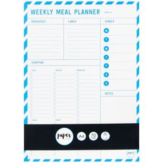Paper Lane Shopping List With Weekly Meal Planner Blue A4