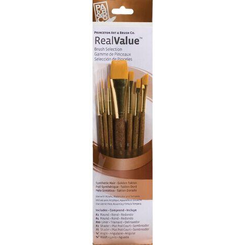 Brush Gold Taklon 4 Lin Round 2 Real Value Set