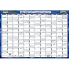 2018 Laminated Card Planner QC2 500 x 700mm White
