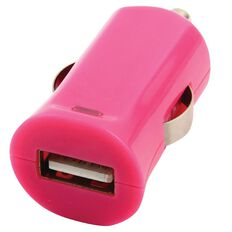 H+O Single USB Car Charger 2.4A Pink
