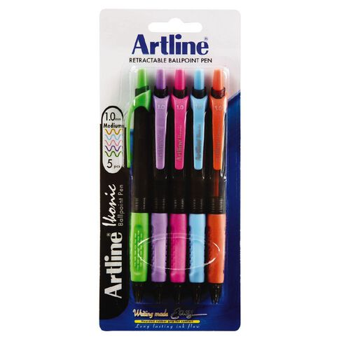 Artline Ikonic Brights 1.0mm Med 5 Pack Colour Assorted