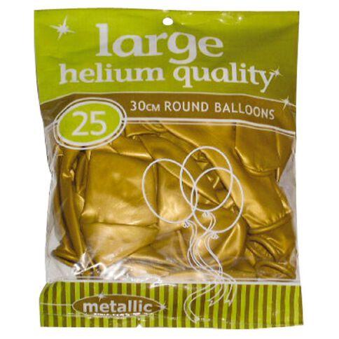 Meteor Balloons Round Metallic Gold 30cm 25 Pack Gold