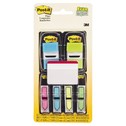 Post-It Flags 25.4mm x 43.2mm 11.9mm x 43.2mm Value Pack Assorted