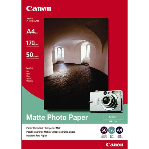 Canon Photo Paper Mp101 Matte 170gsm 50 Pack A4 White