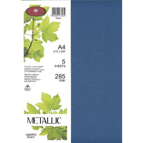 Metallic Board 285gsm 5 Pack Sapphire A4