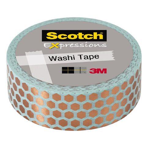 Scotch Washi Tape 15mm x 7m Foil Hexagon Copper/Mint