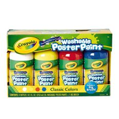 Crayola Classic Paint-a-Pack and Brush White Yellow Red Blue