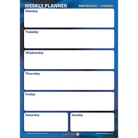 Writeraze Nifty Week Card Planner 245 x 345mm Laminated White
