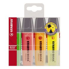 Boss Highlighters 4 Pack Multi-Coloured