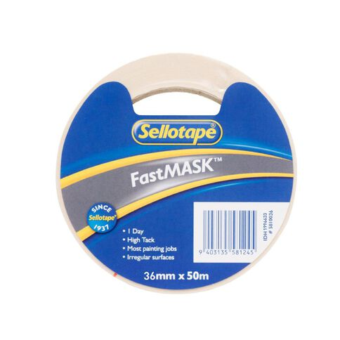 Sellotape Fastmask Tape 36mm x 50m White