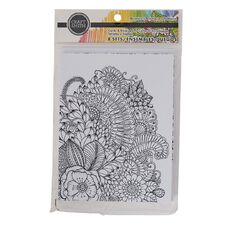 Craft Smith Colouring Card & Envelopes Floral Black & White White