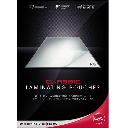 GBC Laminating Pouch 80 Micron Gloss 100 Pack A5 Clear