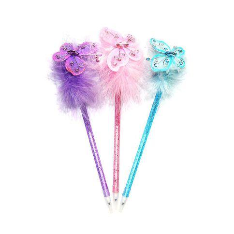 Novelty Pen Fluffy Butterflies Asst Blue