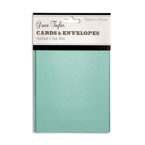 Grace Taylor Cards & Envelopes 15 x 10cm 5 Pack Pearl Mint Green
