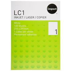 Impact Labels 100 Sheets A4/1 Sticker Sheet White