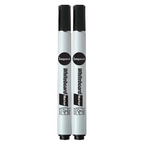 Impact Whiteboard Markers Chisel 2 Pack Black