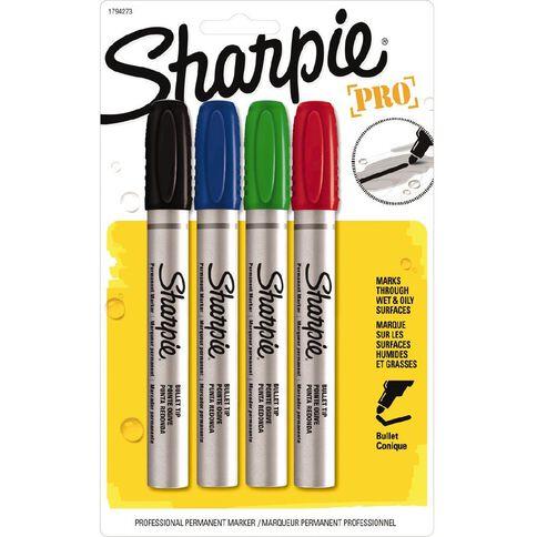Sharpie Marker Pro Bullet Metal 4 Pack Assorted