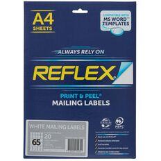 Reflex Mailing Labels 65 Per Sheet 20 Pack A4