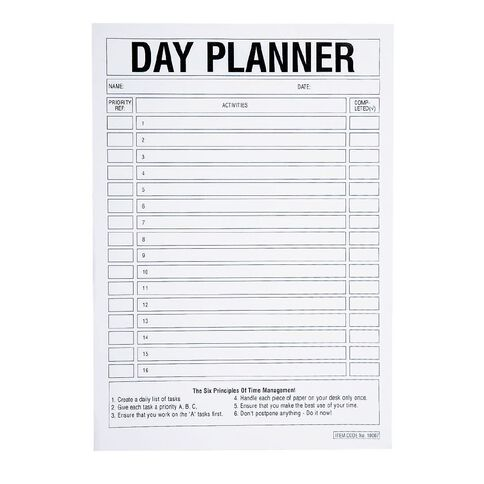 Brenex Day Planner Pad 50 Leaf White A4