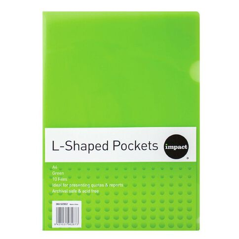 Impact L-Shaped Pockets 10 Pack Green A4
