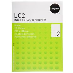 Impact Labels 20 Sheets A4/2 White