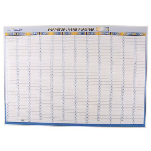 Writeraze Wall Planner Perpetual 1000mm x 700mm Executive White
