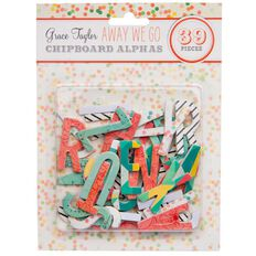 Grace Taylor Away We Go Chipboard Alphas Multi-Coloured