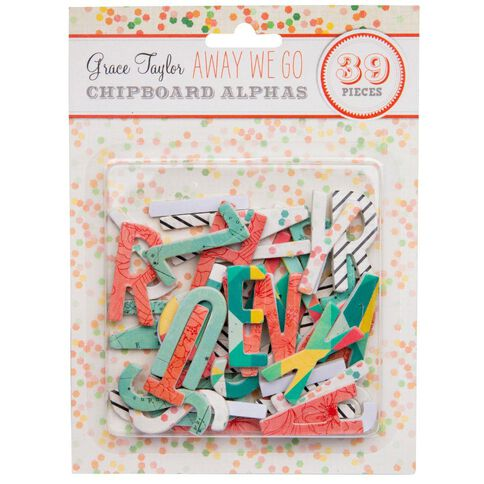 Grace Taylor Away We Go Chipboard Alphas Multi-Coloured