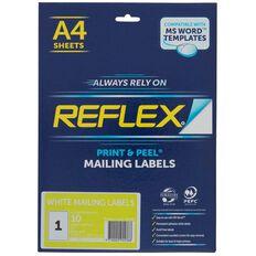 Reflex Internet Shipping Labels 1 Per Sheet 10 Pack A4