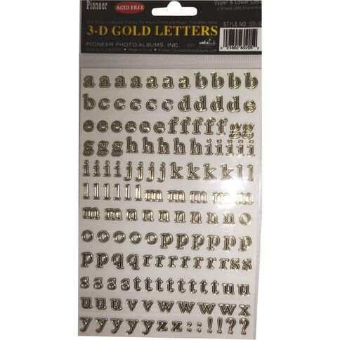 Pioneer Self Adhesive 3-Dimensional Letters Gold
