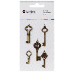 Rosies Studio Metal Trinkets 5 Pack Keys