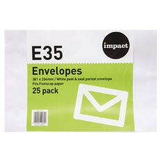 Impact Envelope E35 Peal & Seal 25 Pack White