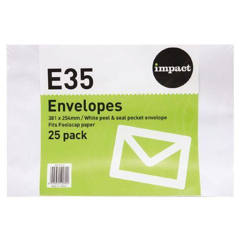 Impact Envelope E35 Peal & Seal 25 Pack White