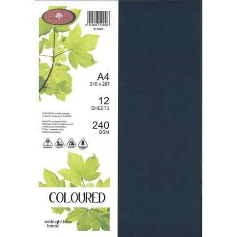 Coloured 240gsm Board 12S Midnight Blue A4