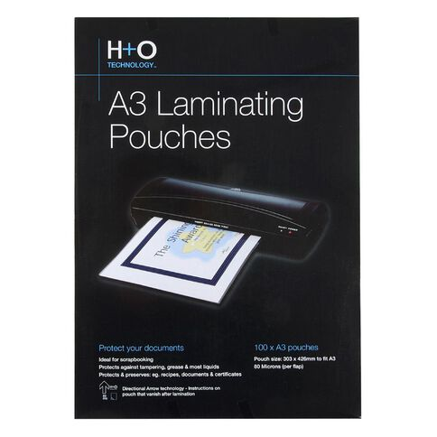 H+O Hot Laminating Pouch 100 Pack 80 Microns A3