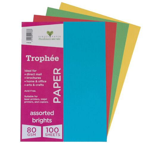 Trophee Paper 80gsm 100 Pack Brights Assorted A4