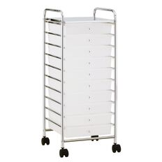 Jasper J Chrome Trolley Wide 10 Drawer White