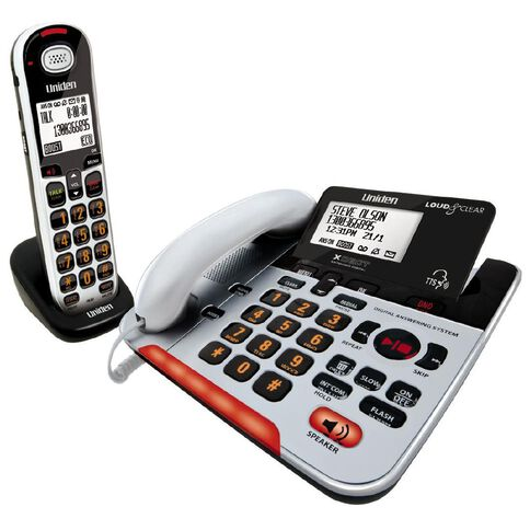 Uniden Sse37+1 Visual & Hearing Impaired Corded & Cordless Phone White