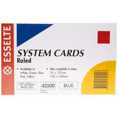 Esselte System Cards Lined 127 X 203Mm Blue 100 Pack Blue
