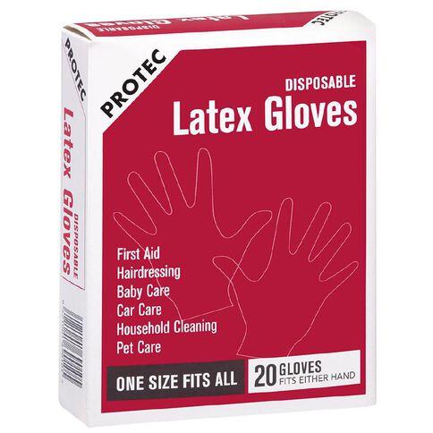 Protec Latex Gloves 20 Pack White